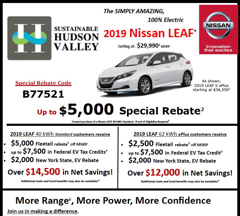 SHV Nissan Leaf EV Rebate 2019