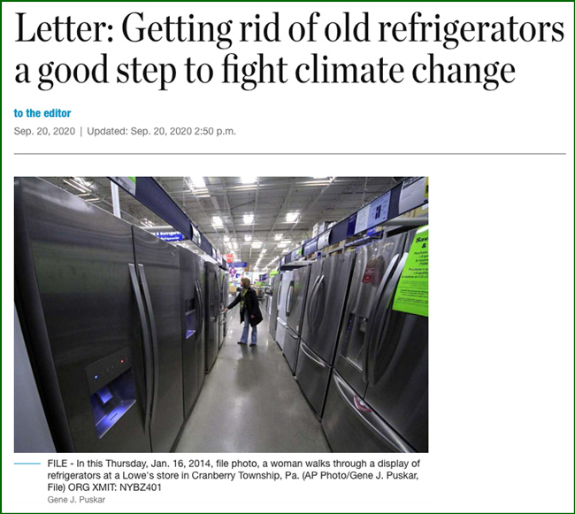 Getting rid of old refrigerators a good step to fight climate change